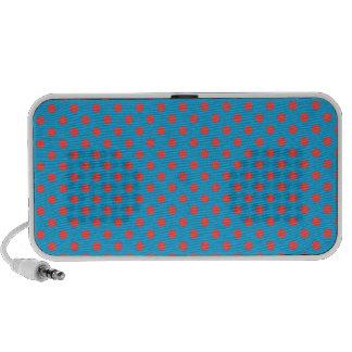 Polka Dots - Light Red on Light Blue Portable Speaker