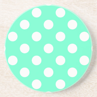 Polka Dots Mint Green Sandstone Coaster
