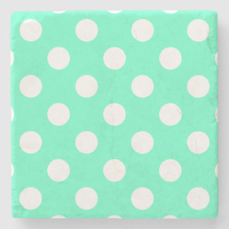 Polka Dots Mint Green Stone Coaster