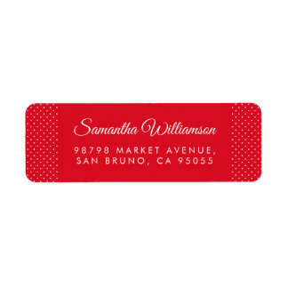 Polka dots & Modern Typography Red Address Return Address Label