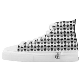 Polka Dots Monochromatic Black White Retro Chic High Tops