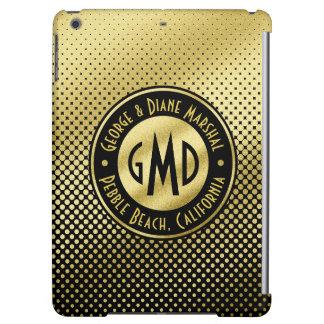 Polka Dots Monogram Gold Glitter Black Modern