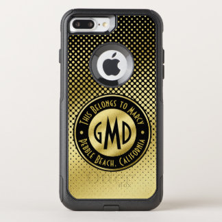 Polka Dots Monogram Gold Glitter Black Modern OtterBox Commuter iPhone 8 Plus/7 Plus Case
