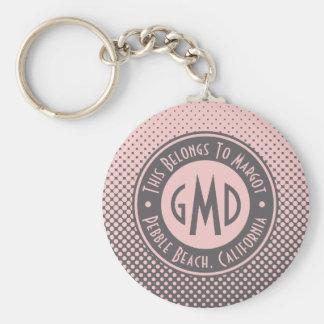 Polka Dots Monogram Millennial Pink Gray Trendy Basic Round Button Key Ring