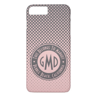 Polka Dots Monogram Millennial Pink Gray Trendy iPhone 8 Plus/7 Plus Case