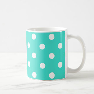 polka dots  mug in bright turquoise and white