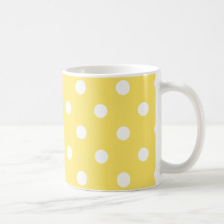 polka dots  mug in bright yellow and white