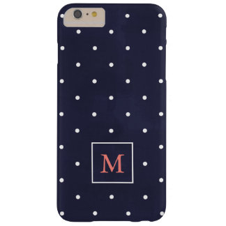 Polka Dots on Deep Blue | Coral Monogram Barely There iPhone 6 Plus Case