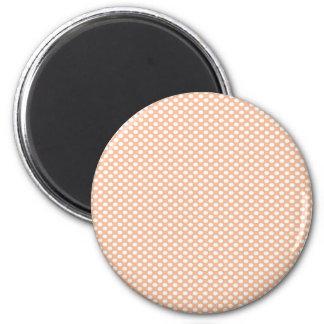 Polka Dots on Peach 6 Cm Round Magnet