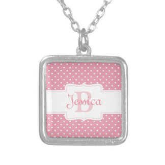 Polka Dots on Pink Square Pendant Necklace