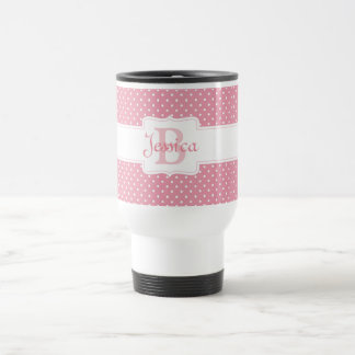 Polka Dots on Pink Stainless Steel Travel Mug