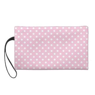 Polka dots on sweet pink background wristlet clutch