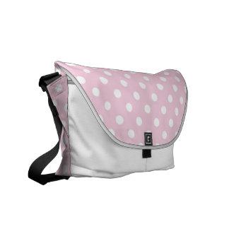 Polka dots on sweet pink background bag commuter bag
