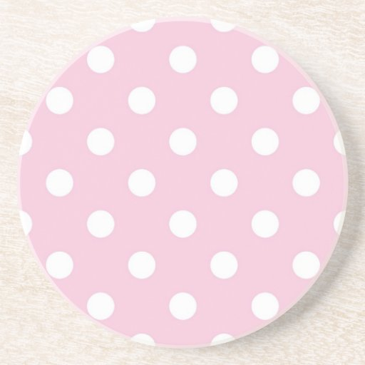 Polka dots on sweet pink background coaster