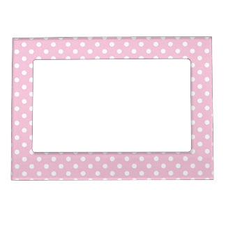 Polka dots on sweet pink background magnetic frame