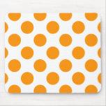 Polka Dots Orange Mouse Pad