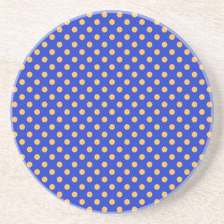 Polka Dots - Orange on Blue Beverage Coaster