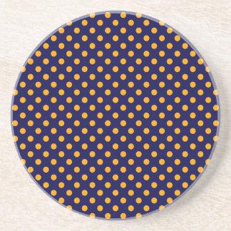 Polka Dots - Orange on Dark Blue Drink Coasters
