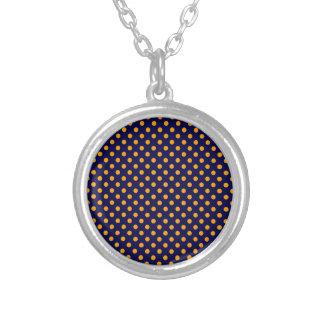 Polka Dots - Orange on Dark Blue Necklaces