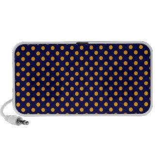 Polka Dots - Orange on Dark Blue Speaker