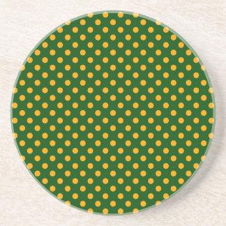 Polka Dots - Orange on Dark Green Beverage Coasters