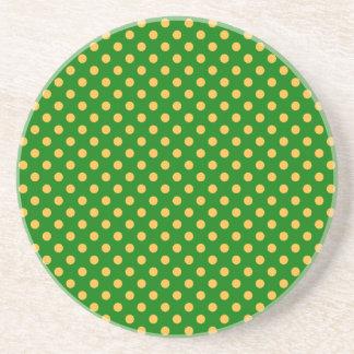 Polka Dots - Orange on Green Drink Coasters