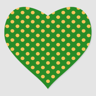 Polka Dots - Orange on Green Heart Stickers