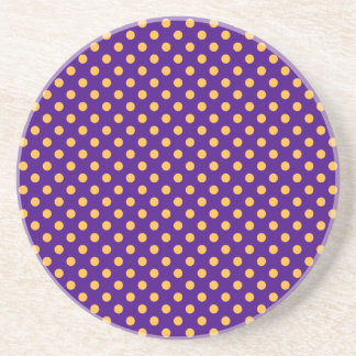 Polka Dots - Orange on Violet Coaster
