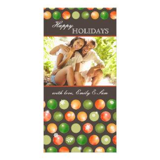 Polka Dots Ornaments Couple Holiday Photo Photo Greeting Card