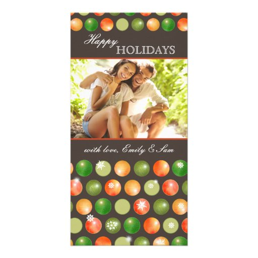 Polka Dots Ornaments Couple Holiday Photocards Photo Card Template