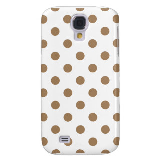 Polka Dots - Pale Brown on White Galaxy S4 Case