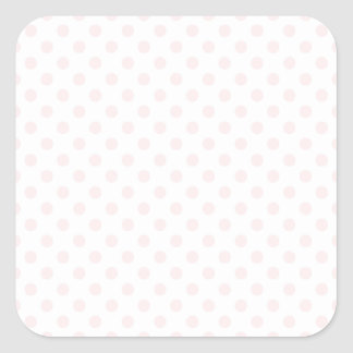 Polka Dots - Pale Pink on White Square Sticker