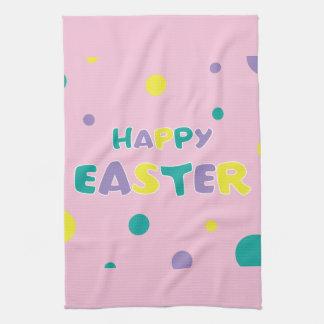 Polka Dots Pastel Pink Happy Easter Tea Towel