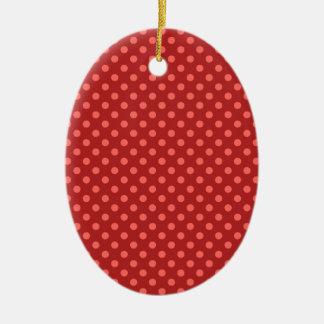 Polka Dots - Pastel Red on Firebrick Ceramic Oval Decoration
