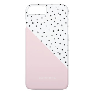 Polka Dots Pattern Blush Pink Abtract Personalized iPhone 8 Plus/7 Plus Case