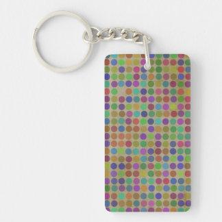 Polka Dots Pattern Fashion Vintage Retro Colors Key Ring