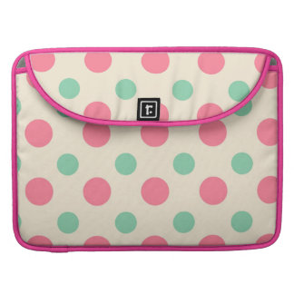 Polka dots , pink and green on cream sleeves for MacBook pro