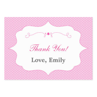 Polka Dots Pink Thank You Tag Label Pack Of Chubby Business Cards