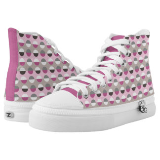 Polka Dots Pink White Grey Trendy Girl Cute High Tops