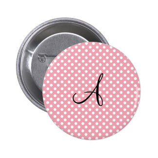 Polka dots pink white monogram buttons