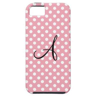Polka dots pink white monogram iPhone 5 case