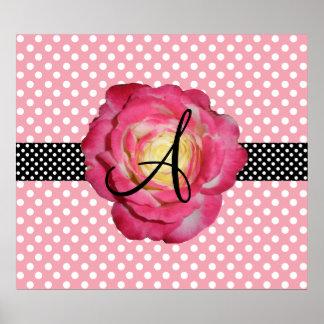Polka dots pink white monogram pink rose poster