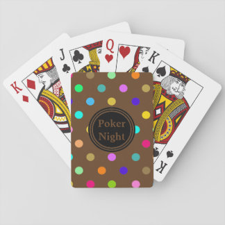 Polka dots poker night brown playing cards