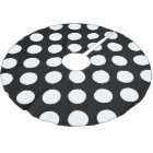 Polka Dots, Polka Dotted Background - White Black Brushed Polyester Tree Skirt