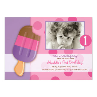 Polka Dots & Popsicles Personalized Invitation