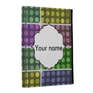 Polka dots rectangles pattern iPad folio cases