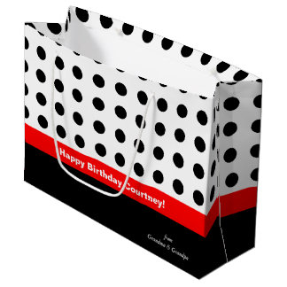 Polka Dots Red and Black Large Gift Bag
