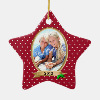 Polka Dots Red and Holly Photo Frame Christmas Ornament