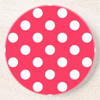 Polka Dots Red Drink Coaster