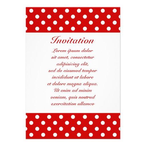 Polka Dots Red + Custom Color Personalized Invite